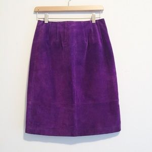 Vintage high waisted suede pencil skirt purple